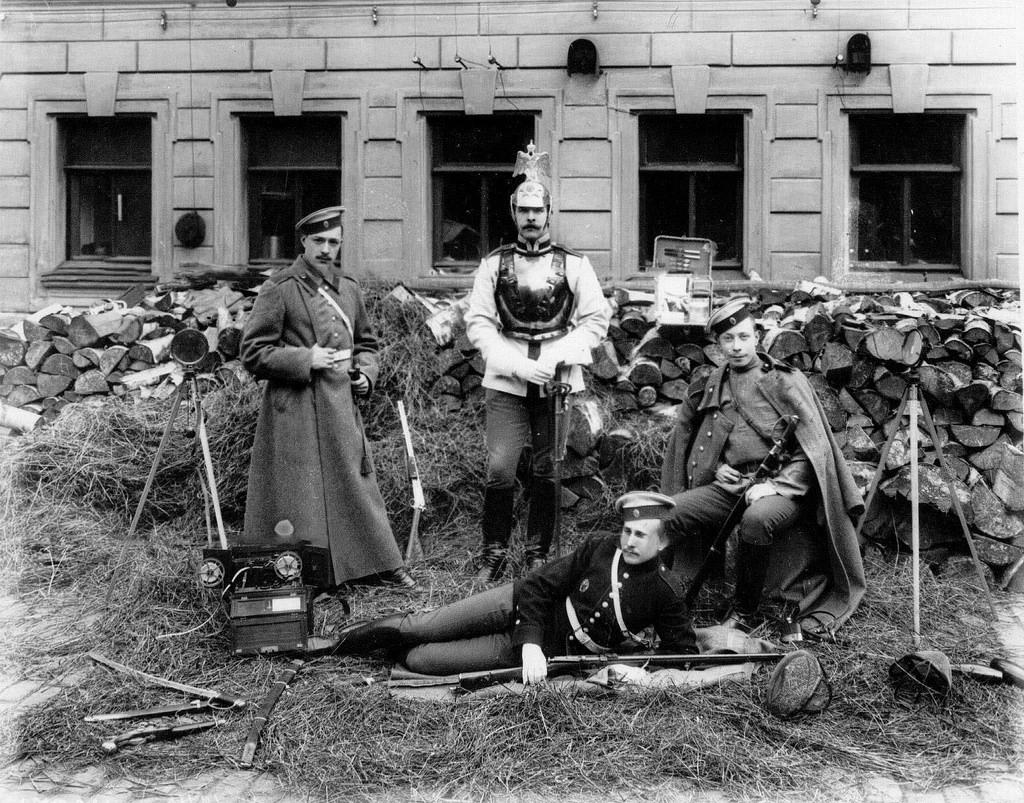 1908.  Сын графа А.Д.Шереметева с друзьями (слева направо) Поливанов, барон Кнорринг, Шереметев и Хартулари (лежит)