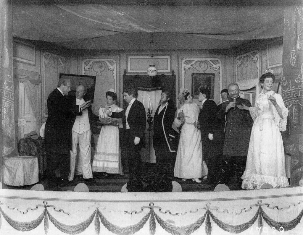 1908. Сцена из водевиля в театре графа А.Д.Шереметева