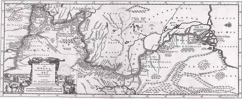 1659. Карта Кавказа, составленная по маршруту путешествия Адама Олеария