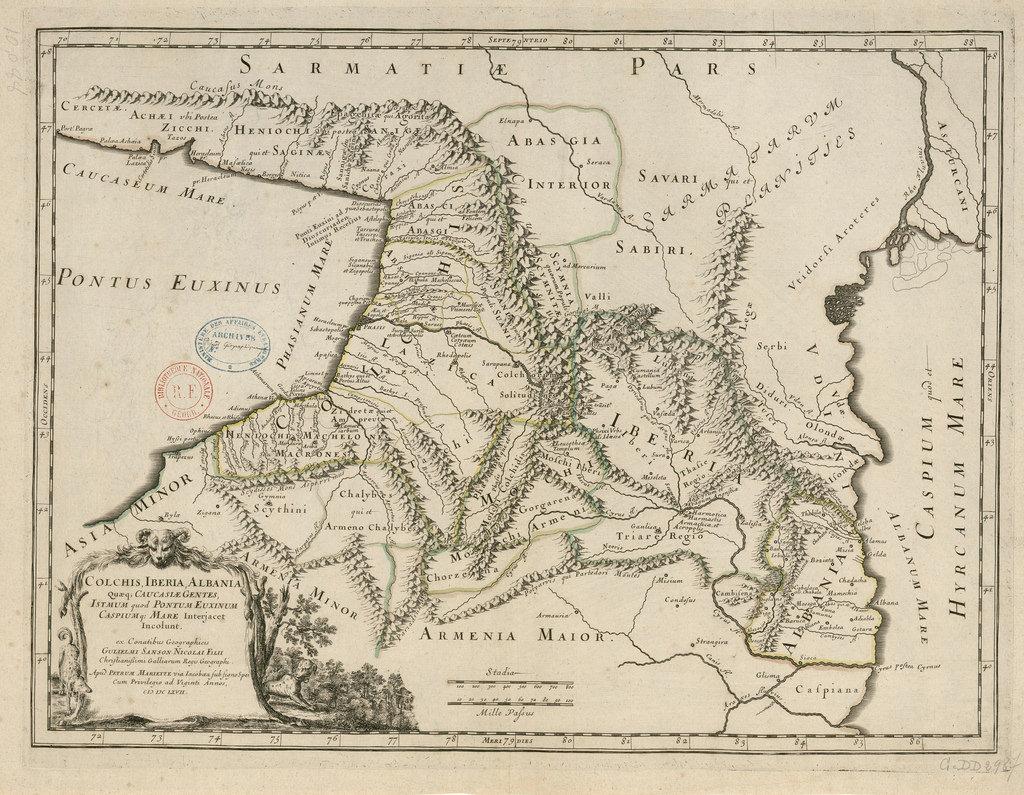 1667. Карта Кавказа, Грузии и Албании
