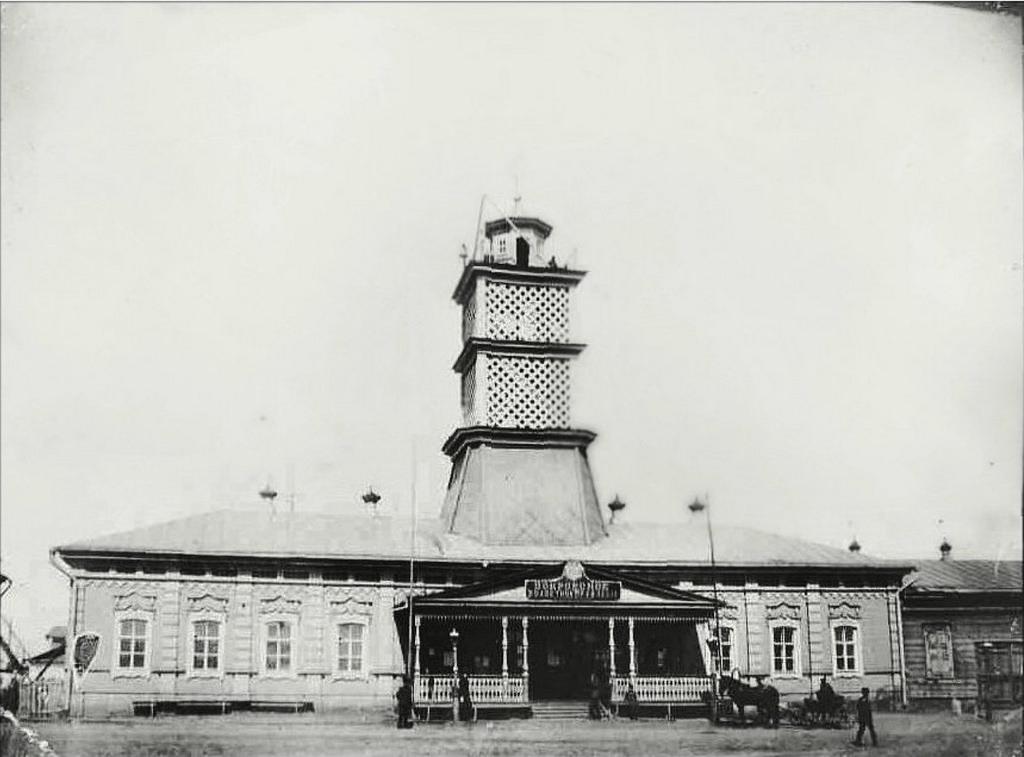 Пожарная каланча и здание волостного правления. 1908