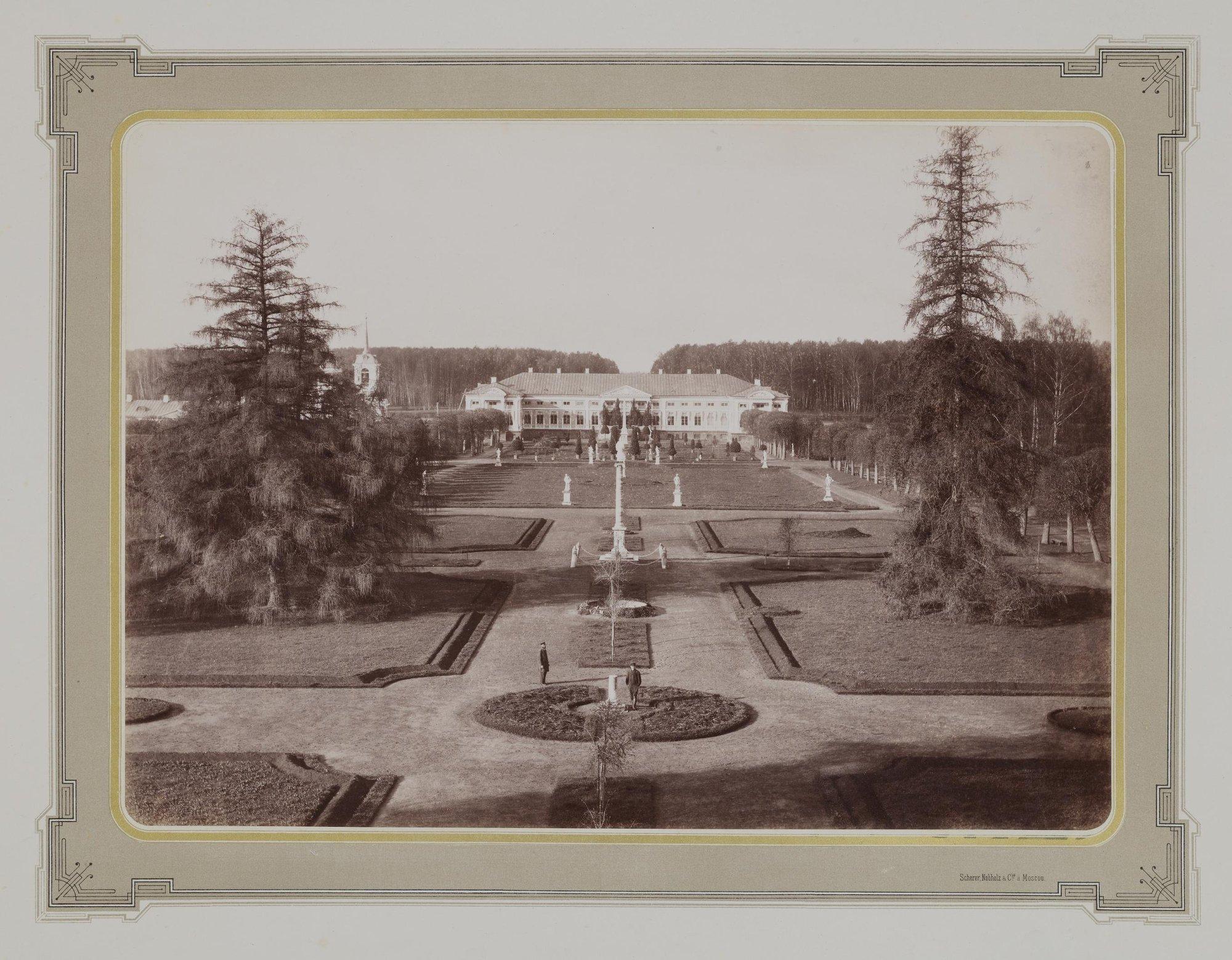 1883-1886. Усадьба Кусково. Вид на парковый партер со стороны оранжереи