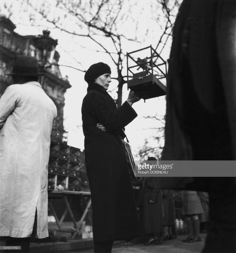 1932. Женщина с клеткой на птичьем рынке