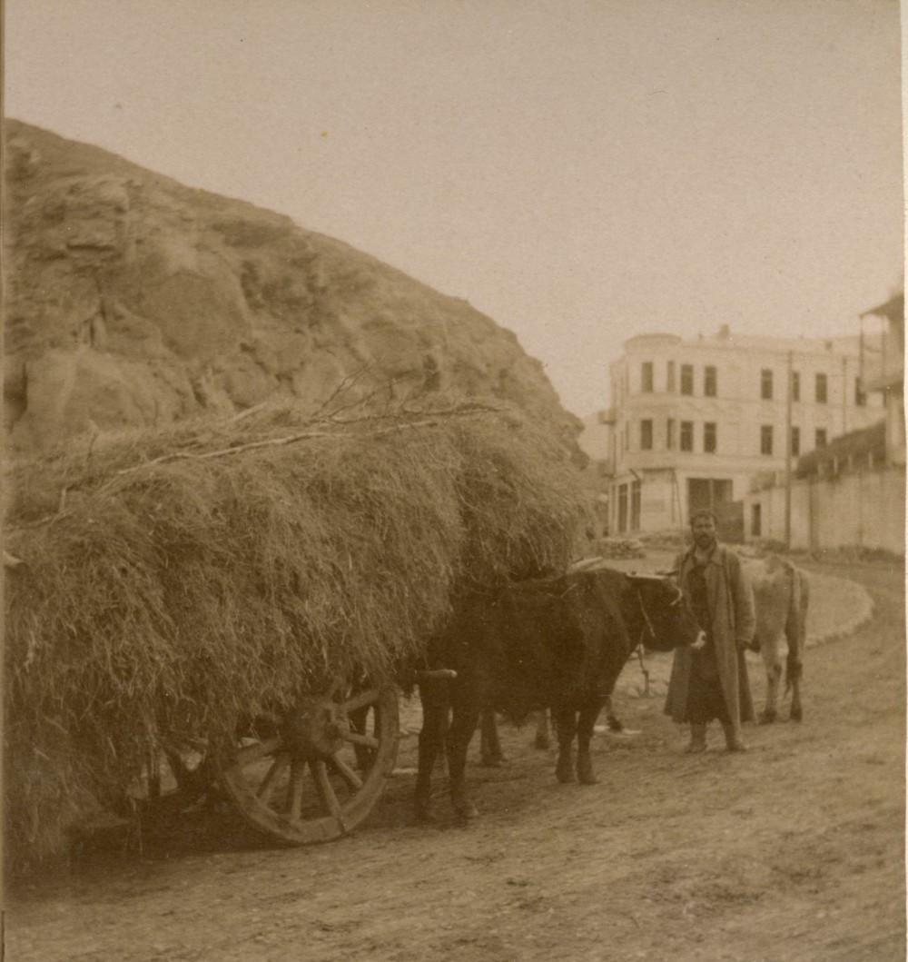 Грузинская арба груженная сеном
