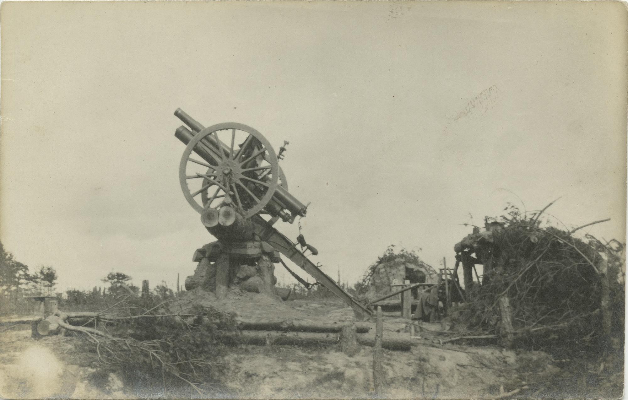 1916. Мортира, приготовленная для стрельбы по аэроплану