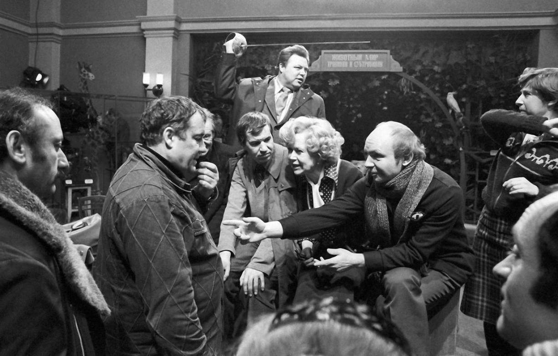 1979. С актерами на съемках «Гаража» на «Мосфильме»,  Москва, 20 февраля