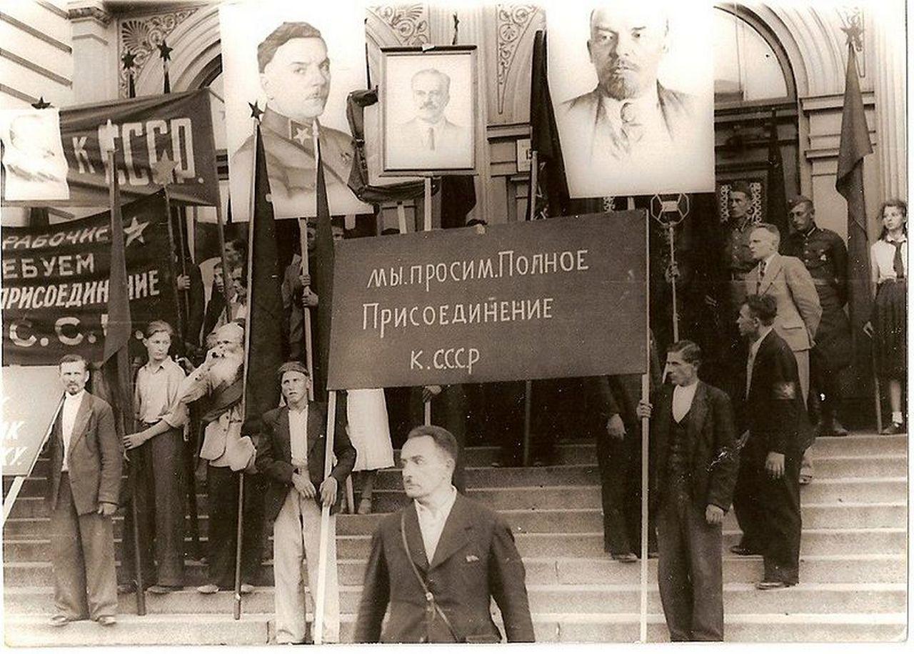 Пикет сторонников присоединения Латвии к СССР.