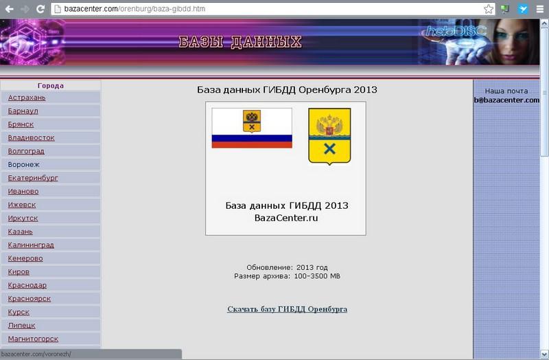 База данных ГИБДД Оренбургской области