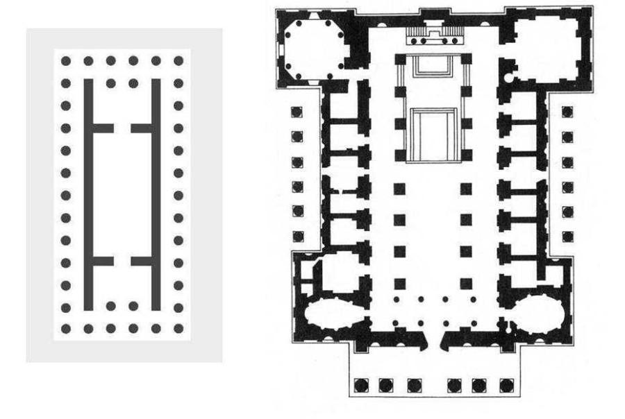 partenonas ir katedra_planai