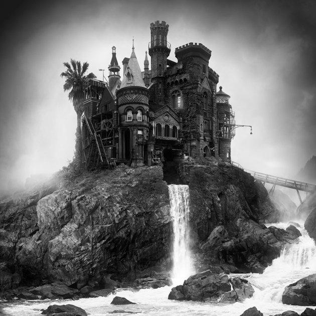 Castle on rocky waterfall