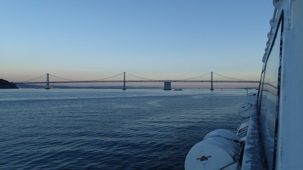 Bay Bridge and boat