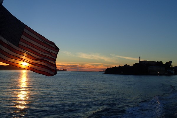 Flag, bridge, Alcatraz