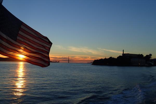 Flag, bridge, Alcatraz