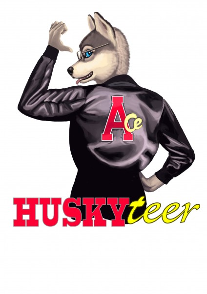 Artwork showing Huskyteer wearing the leather jacket worn by Ace in Doctor Who.