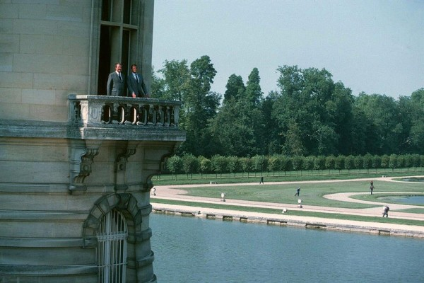 Roger Moore and Patrick MacNee on location at Chantilly during the filming of A View to a Kill