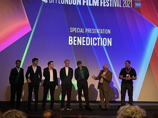 Cast and crew of Benediction on stage