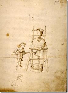 TACCOLA - Uomo aziona un mulino mediante biella-manovella