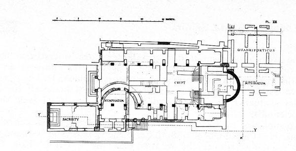 Pianta delle terme Surane ad ovest della Chiesa di Santa Prisca.