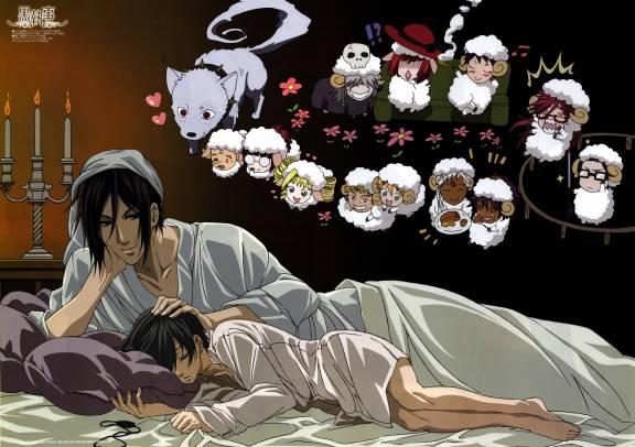 Sabastian and Ciel lying on bed (hmm ...)