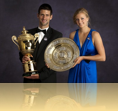 The Official Portrait of Mr Novak Djokovic of Serbia & Miss Petra Kvitova of the Czech Republic at The Wimbledon Champions' Dinner 2011<br /><br />The Championships Wimbledon 2011 <br /><br />No Commercial Usage of this Picture <br />This Picture has been retouched<br /><br />Day 13<br />Sunday 03/07/2011<br />Credit: Tom Lovelock / AELTC POOL<br />