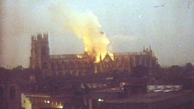 York Minster. South transept roof on fire. July 1984