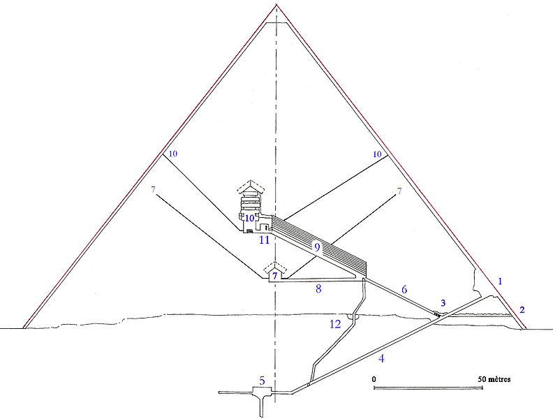 Пирамида Хеопса в разрезе.
