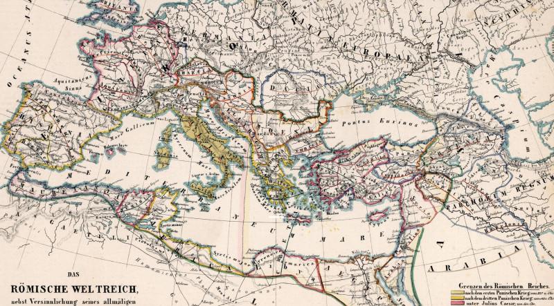 фрагмент карты  «Das Romische Weltreich, nebst Versinnlichung seines allmaligen Anwachsens», (Римская империя, с демонстрацией ее постепенного расширения),1851г.