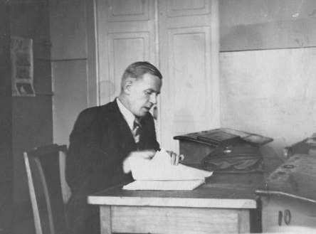 А.А. Пластинин на уроке (фото из семейного альбома)