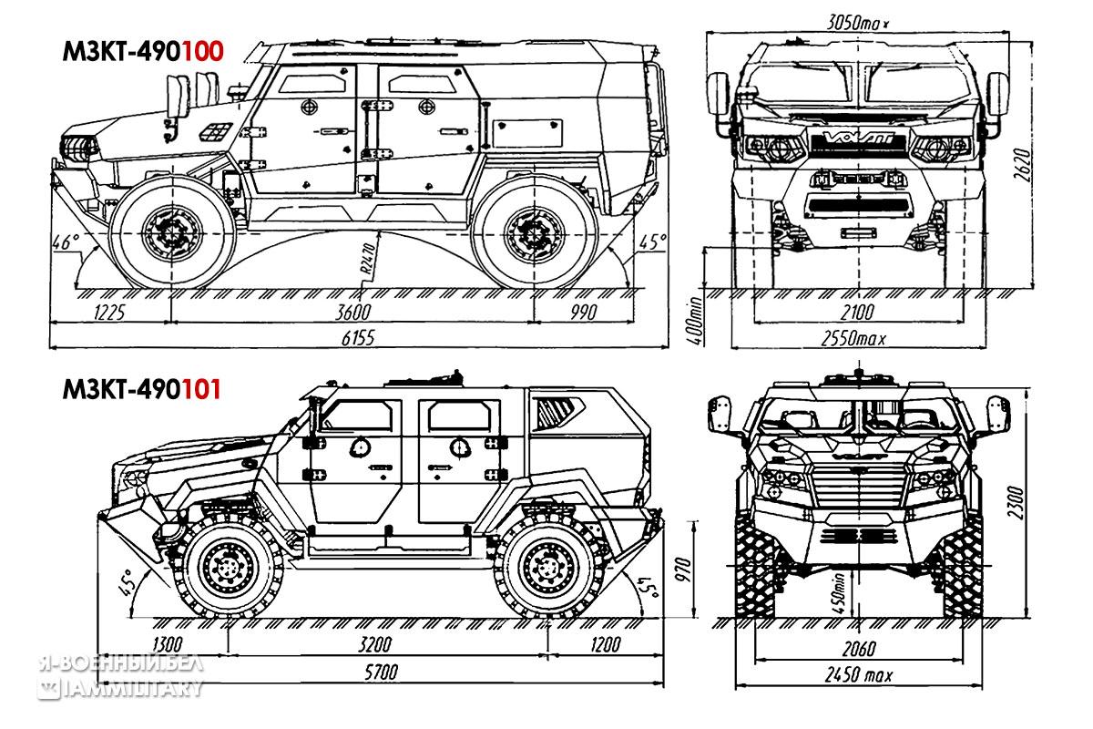 Сравнение внешнего вида МЗКТ-490100 и МЗКТ-490101
