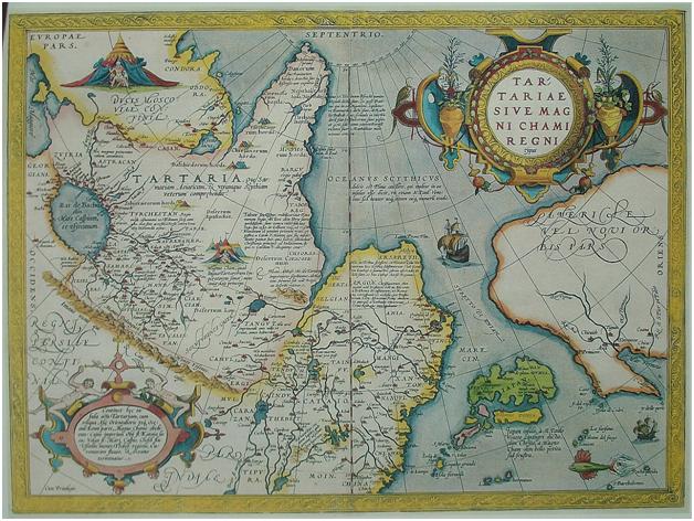 Карта Тартарии из Зрелища Круга Земного Абрахама Ортелиуса