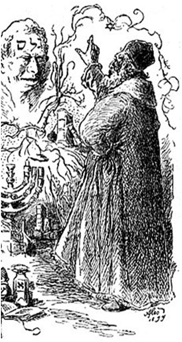 Рабби Лев оживляет голема.Рисунок М. Алеша