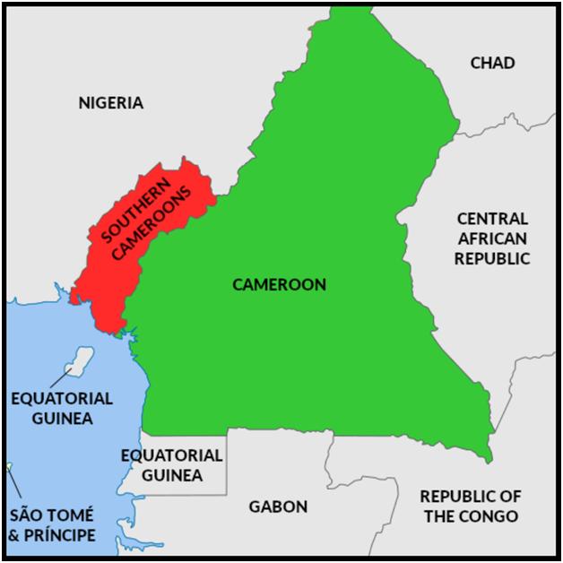 Амбазония на карте Камеруна (обозначена красным)