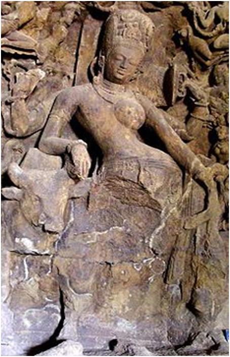 Шакти и Шива в едином образе Ардханари — полуженщины, полумужчины (Слоновьи пещеры, Мумбаи, Индия, V в. н. э.)
