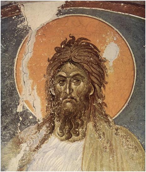 Иоанн Креститель, Православная фреска, монастырь Грачаница, неизвестный художник, XIV век.