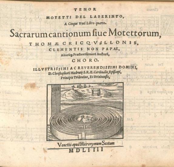 Motetti del Laberinto (sic). Сборник 5-голосных «духовных песен, или мотетов», разных композиторов (Венеция: Hieronymus Scotus, 1554). Титульная страница тенорового поголосника