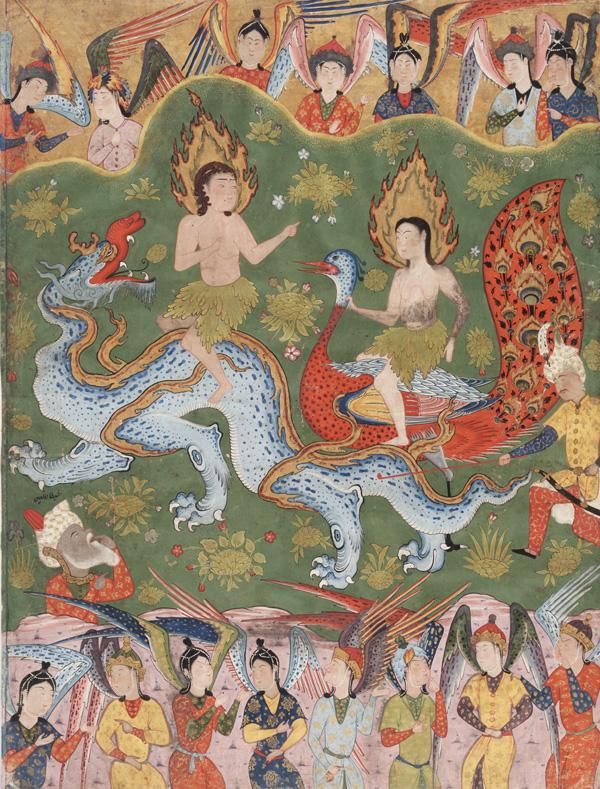 Адам и Хавва, изгоняемые из рая. Фалнама, ок. 1550 г.
