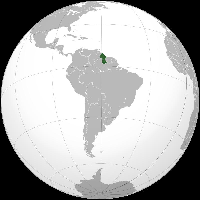 Гайана на карте Южной Америки