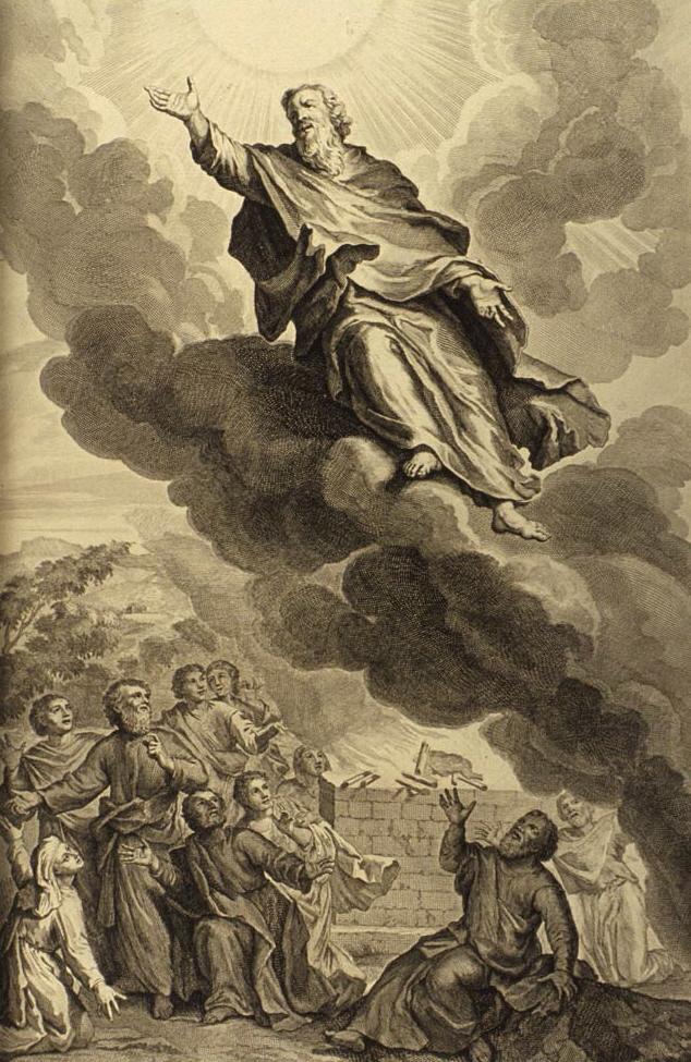 «...не стало его, потому что Бог взял его» (Быт. 5:22-24), гравюра Герарда Хута, 1728