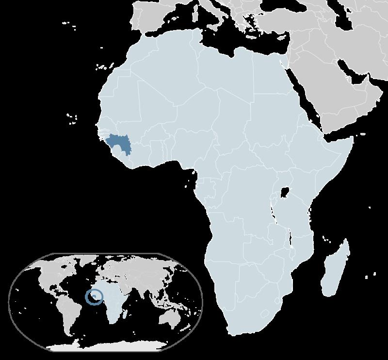 Гвинея на карте Африки