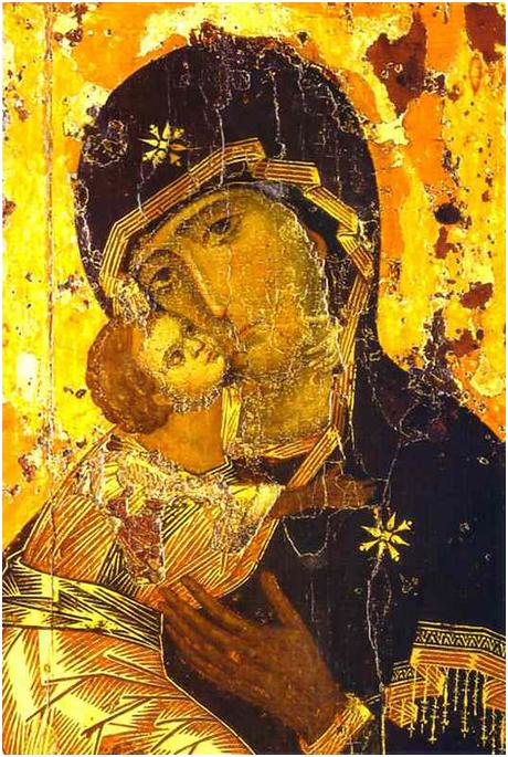 «Владимирская икона Божией Матери» — наиболее почитаемое изображение Богоматери на Руси. Византия. XII век