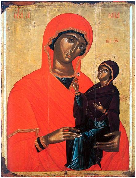 Иконописец Ангелос Акотанос. «Святая Анна с младенцем Марией», Греция, XV век