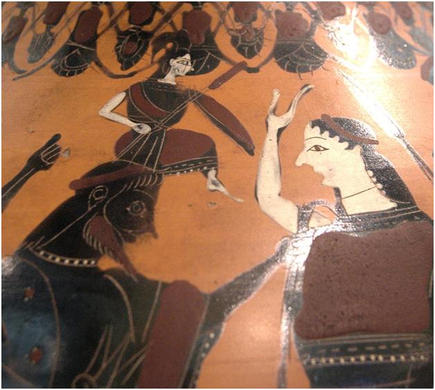 Рождение Афины из головы Зевса. Илифия справа (отметьте её характерный нос)