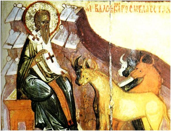 Святой Власий с животными (русская икона, XV век)