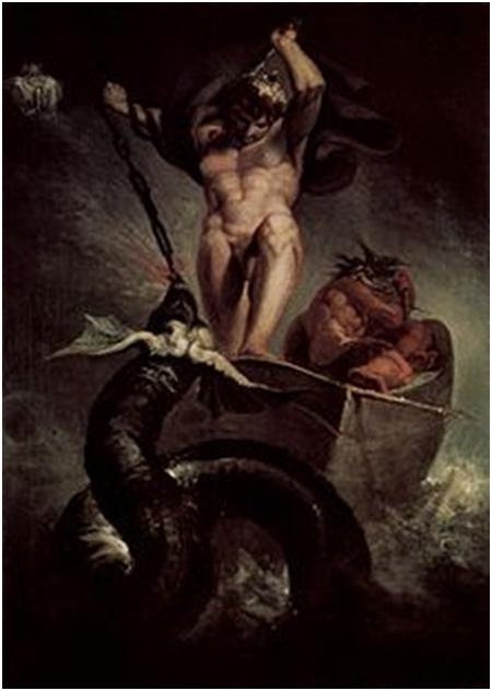 Тор сражается с мировым змеем, Генри Фусли, 1788
