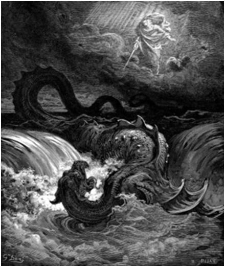 Убийство Левиафана.Гравюра Гюстава Доре, 1865 г.