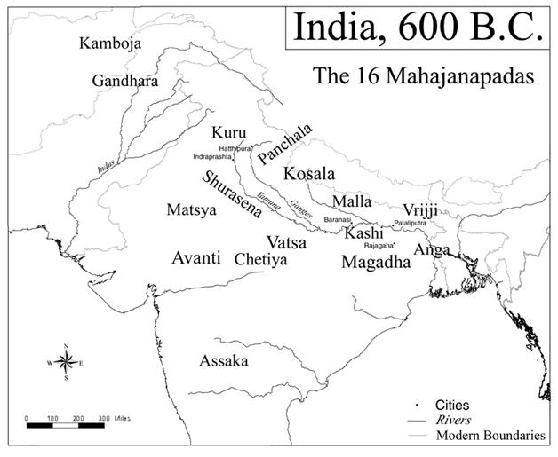 Индия около 600 до н. э. и Махаджанапады