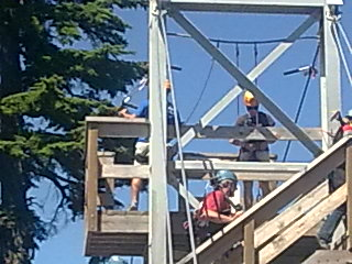 People getting ready to zip line