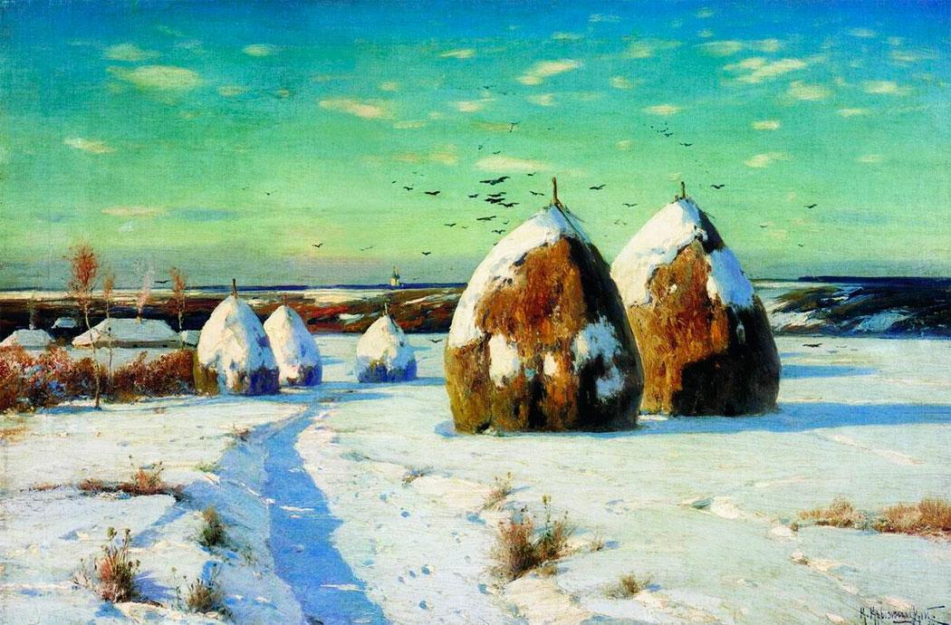 Зимний пейзаж со стогами 1910.jpg