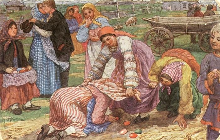 """Сычков Федот Васильевич. Пасхальная игра """"В кучки"""", между  1904 и  1914гг"""