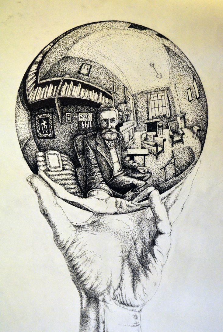 Рука с отражающим шаром. Автопортрет в сферическом зеркале. Впервые в печати в  январе 1935 года